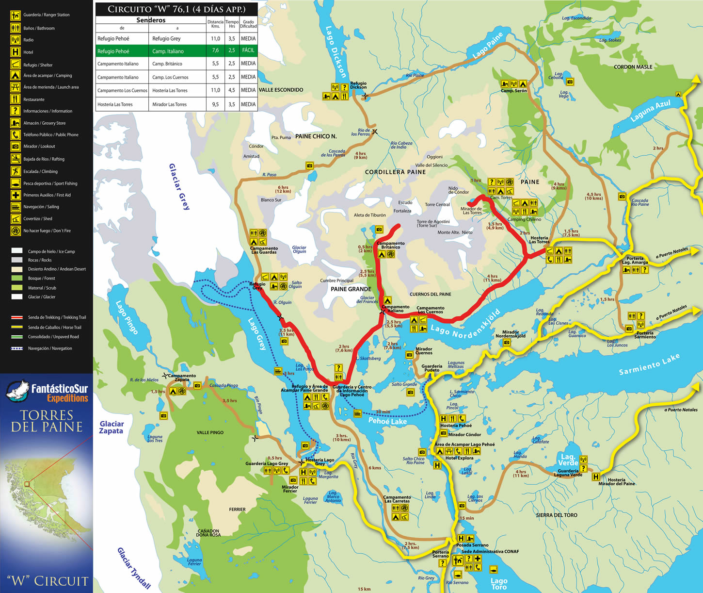 An Excelent Map Of Torres Del Paine Showing Refugios And The