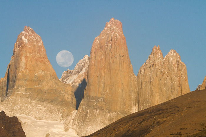 Moonrise at Torres del Paine National Park, Patagonia, Chile © Claudio F. Vidal, Far South Expeditions