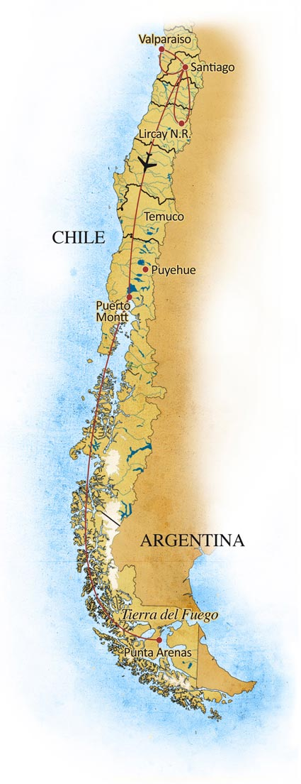 Birding Chile with   Fantastico Sur Expeditions | Trip Map