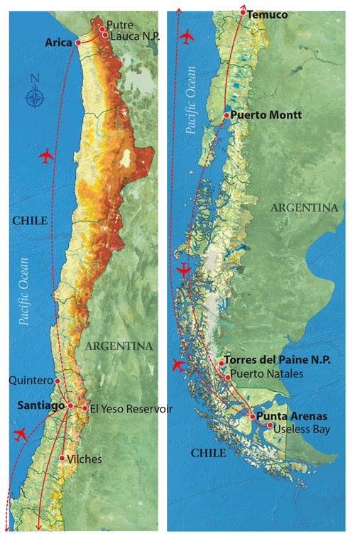 Chilean Birding Adventure - Map © Far South Expeditions
