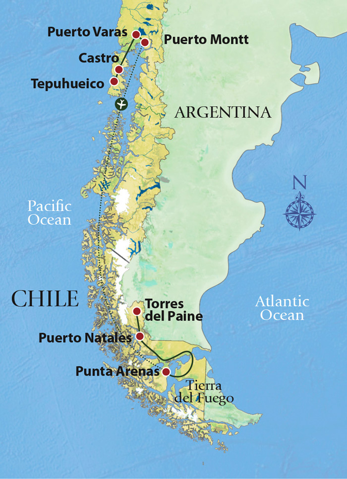 Mammals and Birds of Patagonia Trip Map