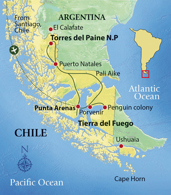 Patagonia Wildlife Adventures Tour Map © Far South Expeditions