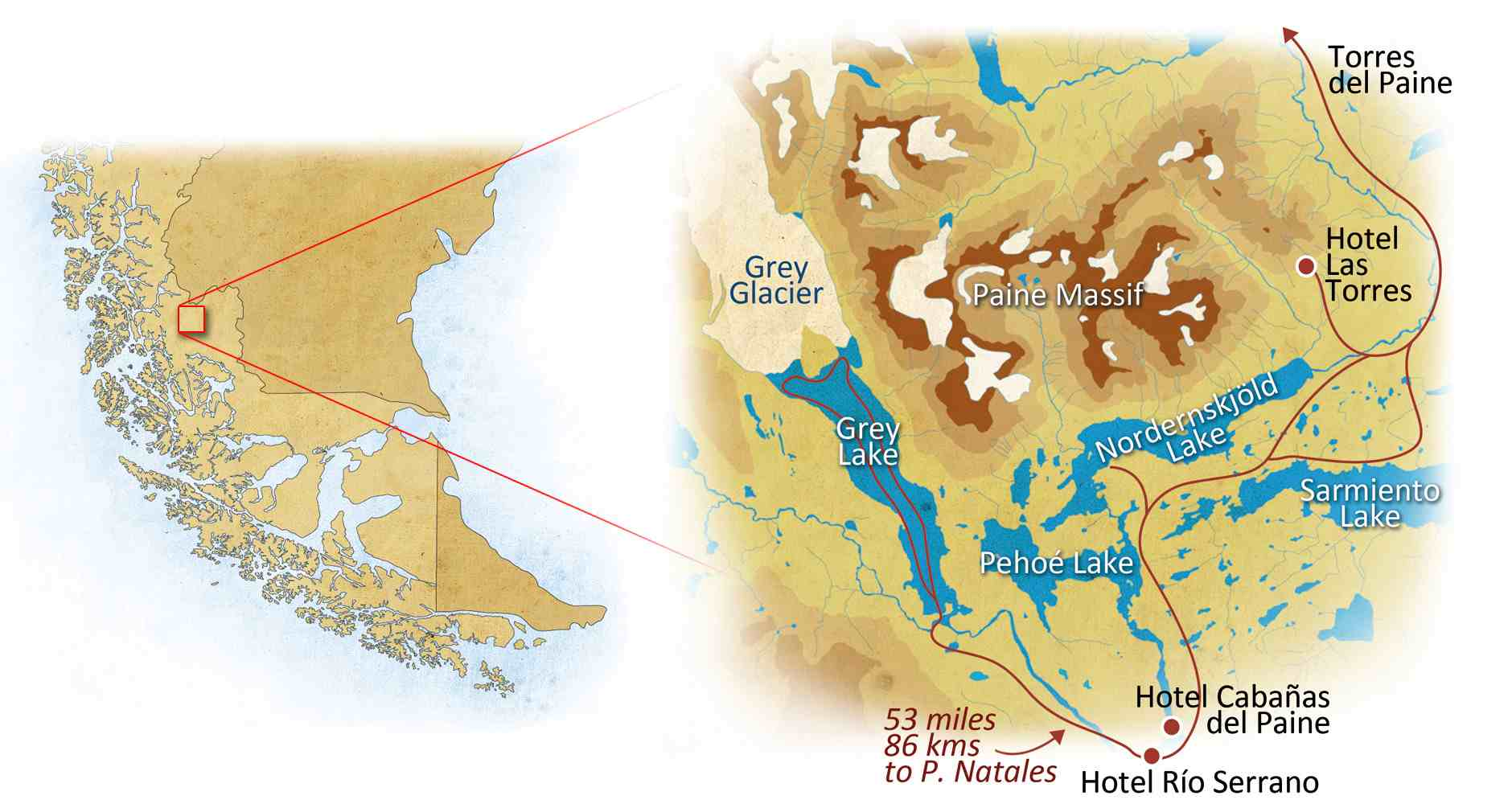 Torres del Paine Explorer Trip Map