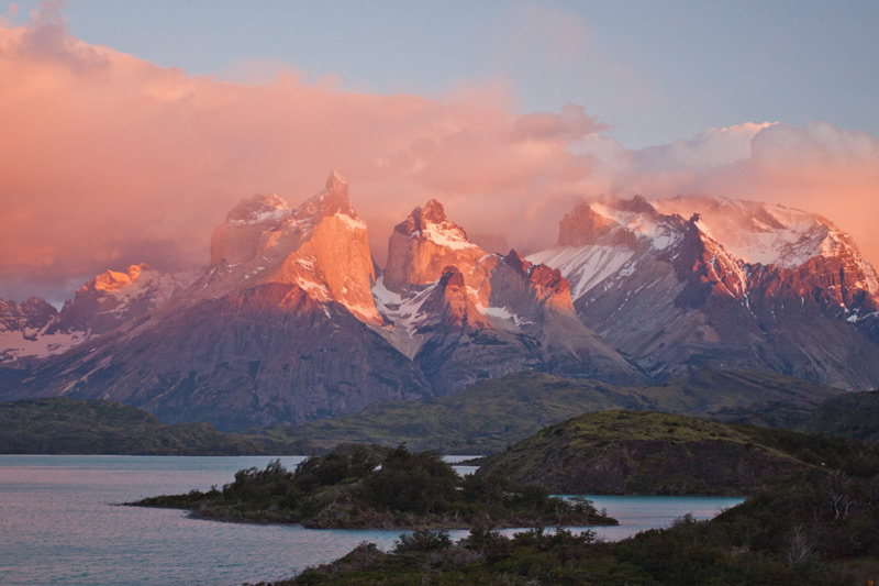 Dawn at the Los Cuernos (the 'Horns'), Paine Massif, Torres del Paine NP, Chile © Claudio F. Vidal, Far South Expeditions