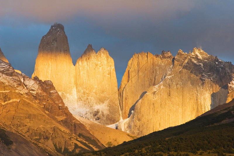 Sunrise at the towering granite spires that named the park - Las Torres -, Torres del Paine National Park, Chilean Patagonia © Claudio F. Vidal, Far South Exp